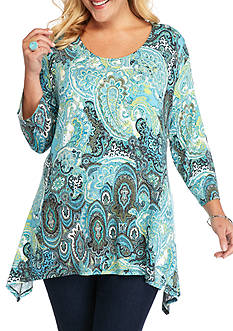 Ruby Rd Plus Size Must Have Paisley Sharkbite Top