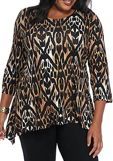 Ruby Rd Plus Size Must Have Ikat Sharkbite Knit Top