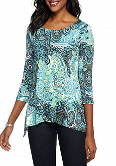 Ruby Rd Paisley Print Knit Top