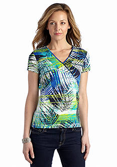 Ruby Rd Must Haves Palm Leaf Print Top