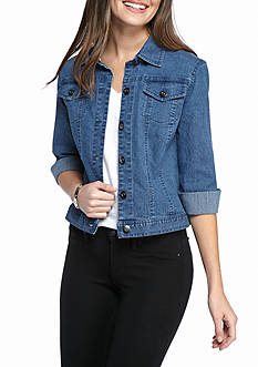 Ruby Rd Key Items Three Quarter Length Sleeve Short Clear Jean Jacket