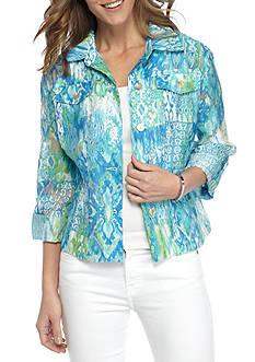 Ruby Rd Key Items Ikat Print Burnout Jacket