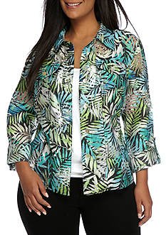 Ruby Rd Plus Key Items Palm Print Burnout Jacket