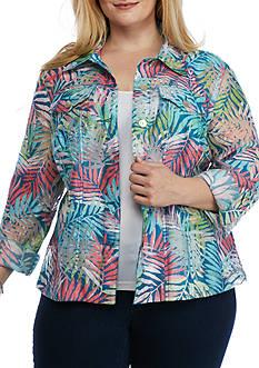 Ruby Rd Plus Key Items Palm Print Burnout Jacket