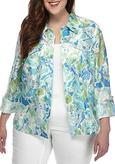 Ruby Rd Plus-Size Key Items Floral 3/4 Sleeve Burnout Jacket