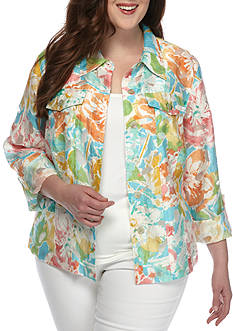 Ruby Rd Plus-Size Key Items Floral 3/4 Sleeve Burnout Jacket