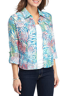 Ruby Rd Petite Key Items Print Burnout Jacket