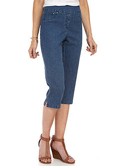 Ruby Rd Petite Key Items Extended Stretch Denim Capris