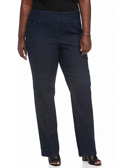 Ruby Rd Plus Size Pullover Stretch Average Denim Pants