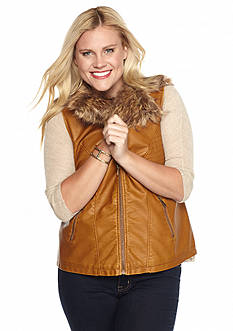 Live a Little Plus Size Faux Fur Collar Vest