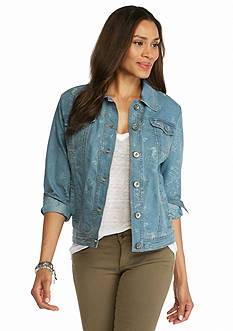 Live a Little Jacquard Denim Jacket