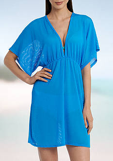 Jordan Taylor Elastic Empire Waist Tunic Swim Cover Up