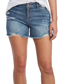 Vanilla Star Rip And Repair Fray Hem Shorts