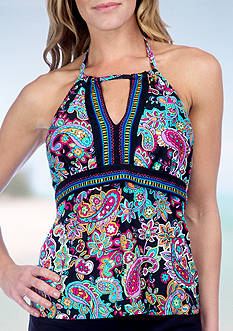 24th and Ocean Paisley High Neck Tankini Swim Top