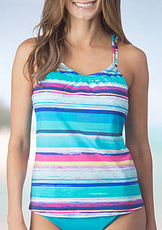 24th and Ocean Samba Stripe Racerback Tankini Swim Top