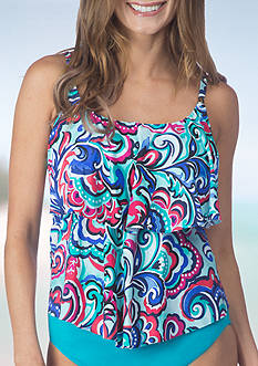24th and Ocean Paisley Park Tiered Tankini Swim Top