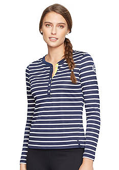 Lauren Active Striped Pique Henley Shirt