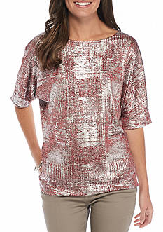 New Directions Foil Dolman Sleeve Top