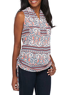 New Directions Printed Side Ruched Popover Top