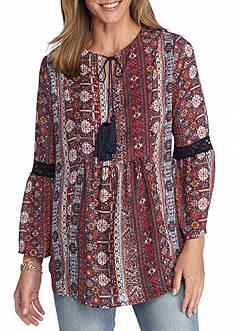 New Directions Tassel Tie Printed Peasant Blouse