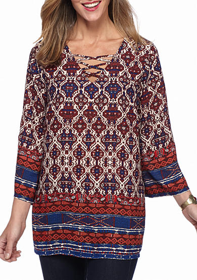 New Directions® Medallion Border Printed Lace Up Blouse