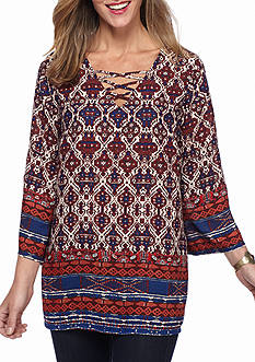 New Directions Medallion Border Printed Lace Up Blouse