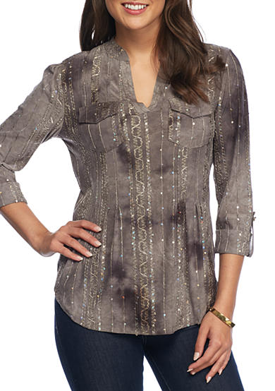 New Directions® Sequin Pleated Tunic Top