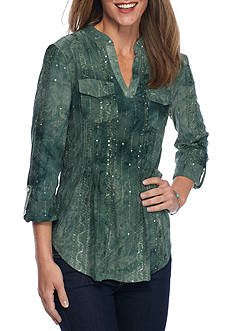 New Directions Sequin Pleated Tunic Top