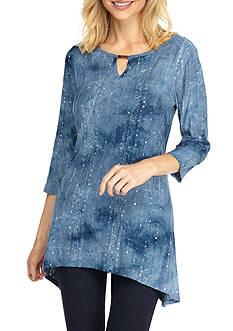 New Directions Sequin Tie Dye Sharkbite Top