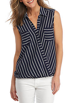New Directions Striped Crossover Blouse
