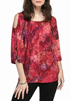New Directions Floral Watercolor Cold Shoulder Top