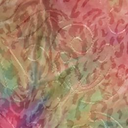 Women: New Directions Tops: Pink / Green New Directions Tie-Dye Ombre Jaquard Shark-Bite Top