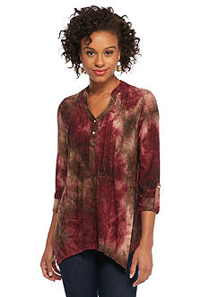 New Directions Ombre Jacquard Shark-bite Top