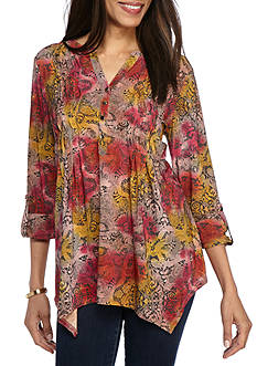 New Directions® Tribal Printed Wavy Pleated Jacquard Tunic Top