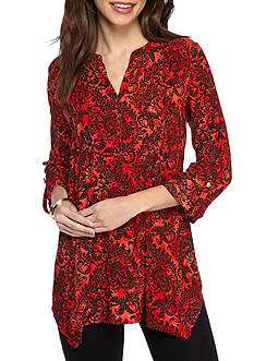 New Directions Paisley Wavy Pleated Jacquard Tunic Top