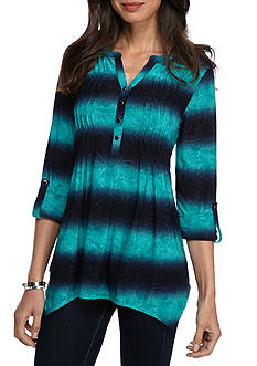 New Directions Ombre Wavy Pleated Jacquard Tunic Top