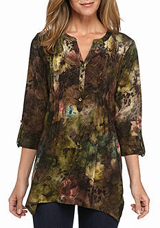 New Directions Floral Jacquard Pleated Tunic Top