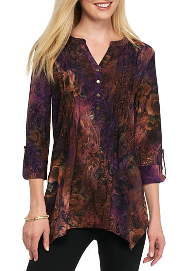 New Directions® Floral Jacquard Top