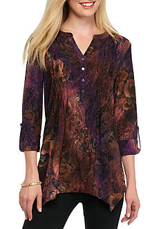 New Directions Floral Jacquard Top