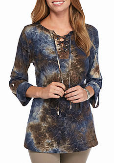 New Directions Lace Up Tie Dye Jacquard Top