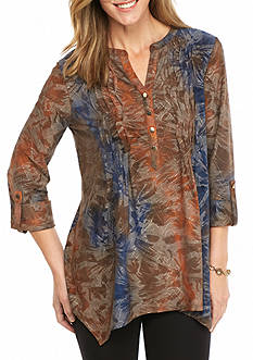 New Directions Tie Dye Jacquard Pleated Top