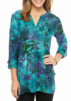 New Directions Floral Jacquard Pleated Top