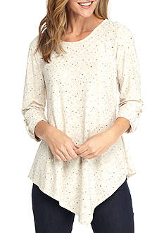 New Directions Asymmetrical Sequin Jacquard Tunic