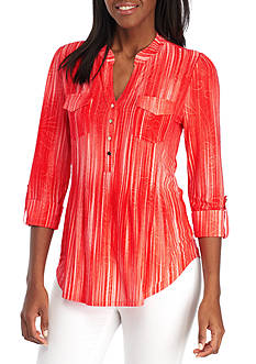 New Directions Three-Quarter Sleeve Button Front Blouse