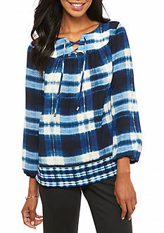 New Directions Plaid Lace Up Blouse