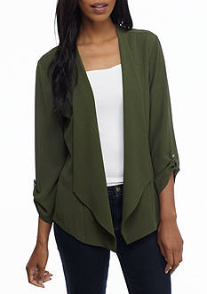 New Directions® Drape Front Roll Tab Sleeve Jacket