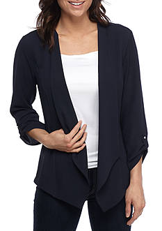 New Directions Drape Front Roll Tab Sleeve Jacket