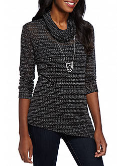 New Directions Shimmer Pointed Hem Necklace Top