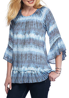 New Directions Tie Dye Off The Shoulder Ruffle Top