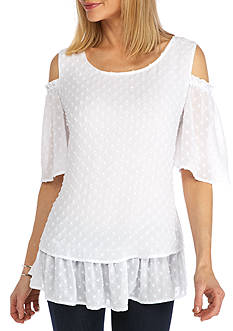 New Directions Tiered Cold Shoulder Blouse